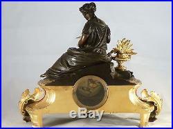 Pendule napoleon III bronze doré et patiné clock uhr reloj empire no regule