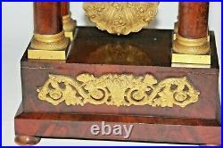 Pendule portique Louis Philippe en bois et métal doré