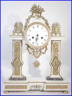 Pendule portique Louis XVI Empire bronze et marbre 18è mouvement à fil