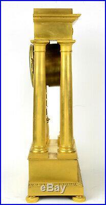 Pendule portique empire restaruation bronze doré au mercure par LAMBELET ormolu