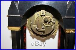 Pendule portique renaissance en bois noirci et marqueterie boulle XIXeme