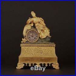 Pendule romantique en bronze doré, XIXe