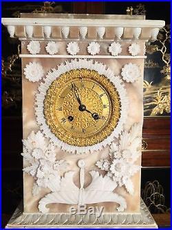 Pendule sous globe albâtre époque Charles X