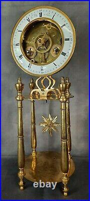 Pendule squelette d'époque fin 18ème XVIII bronze doré signé Gaston Jolly