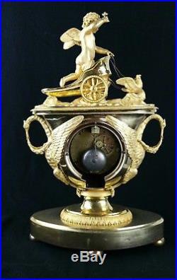 Pendule vase et char de l'amour époque empire