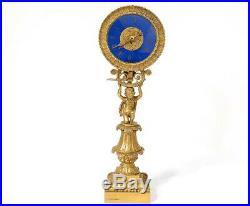 Pendule veilleuse bronze doré enfant chérubin verre palmettes clock XIXème