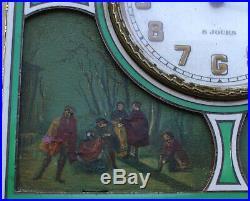 Pendulette Reveil 8 Jours Argent Massif Emaille 4 Miniatures/nacre 4 Saisons