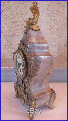 Petit cartel marbre et bronze doré pendulette clock