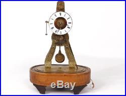 Petite pendule squelette laiton doré bois réveil french clock XIXè siècle