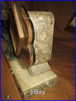 Rare Garniture De Cheminee Art Deco / Pendule + Chandeliers En Regule Et Marbre