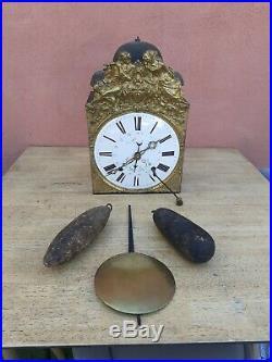 Rare Mouvement horloge comtoise 3 cloches complet poids balancier clè