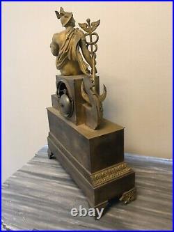 Rare Pendule Empire Bronze Doré Mythologique Venus Caduce Ancre