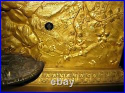 Rare et belle pendule fontaine automate pendule en bronze doré