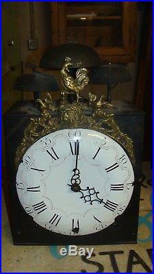 Rare horloge comtoise 3 cloches, XVIIIème, spéciale, UHR, reloj, clock