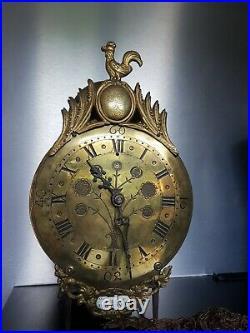 Rare pendule Horloge Lanterne Au Coq 18ème Siècle PONT-FARCY laternenpendel old