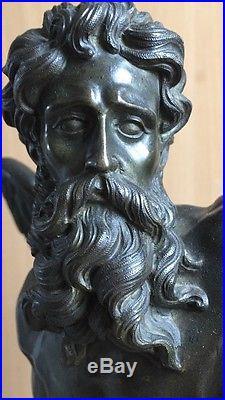 Rare pendule en bronze et marbre jaune ANCIENNE, Chronos