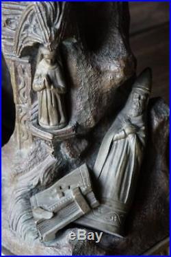 Sculpture en bronze ancienne ange horloge
