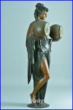 Spectaculaire Pendule Ancienne Allégorie Antique CARRIER BELLEUSE pat Bronze 19e