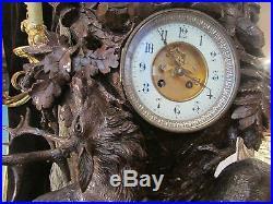 Spectaculaire Pendule XIX Eme Forêt Noire Black Forest Chasse 95 Cm