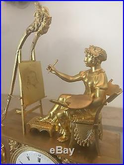 Splendide Pendule Allégorie de la peinture Empire bronze doré, époque XIXé