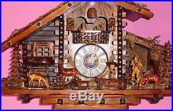 Splendide coucou chalet musical automate Cuckoo Clock August Schwer Kuckucksuhr