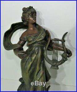 Statue régule (spelter) Muse de Louis Moreau Art nouveau