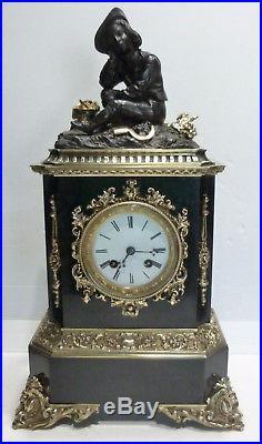 Superbe PENDULE Ancienne Marbre Bronze 1850 Mouvement à fil révisé Vigneron