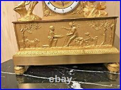 Superbe Pendule Epoque Empire Charles X En Bronze