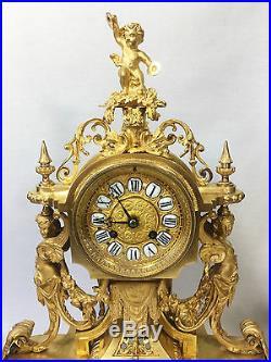 Superbe Pendule / Horloge /garniture De Cheminée En Bronze Doré (dorure Mercure)