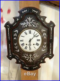 Superbe Pendule Horloge murale ancienne Oeil de Boeuf Napoléon III