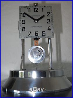 Superbe pendule 800 j Bonvoisin Bulle Clock art déco Chrome (no ato)