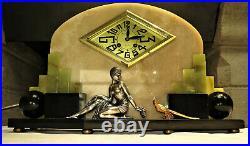 Superbe pendule Art Deco marbre onyx bronze french clock set garniture