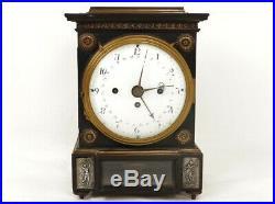 Superbe pendule borne quantième acajou bronze sonnerie antique clock XIXème