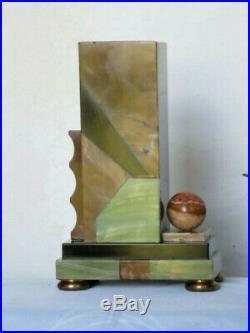 Superbe pendule garniture cheminée bronze signé DANVIN 3 pièces clock art deco