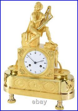 TROUBADOUR FONTAINE. Kaminuhr Empire clock bronze horloge antique pendule uhren