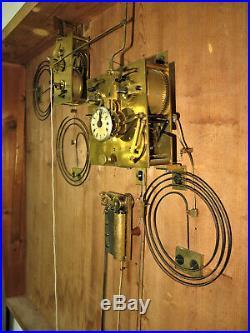 Tableau horloge XIX ieme mvt à fil, 3 gongs boite à musique antique clock