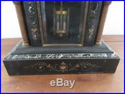 Très belle pendule de notaire napoléon III en marbre noir