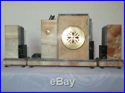 Très rare! Pendule marbre bronze chryselephantine signée set clock Art Deco