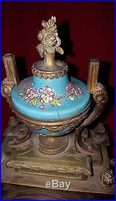 Très rare pendule clock horloge en bronze céramique porcelaine