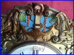 UNIQUE ANCIENNE HORLOGE COMTOISE THEME MARIN PENDULE, BALANCIER, NO POIDS FRENCH