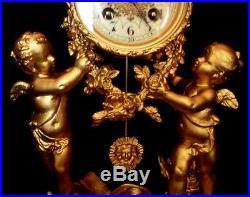 Vers 1860 Imposant Cartel Pendule aux 2 grands Angelots, révisé fonctionne sonne