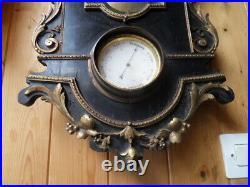 Vintage clock Uhr pendule horloge cartel mural bois noirci et bronze Napoleon