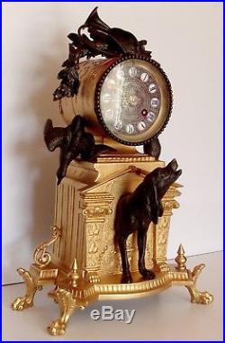 XIXe Siècle splendide Cartel Animalier Chasse, horloge pendule fonctionne, sonne