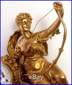 XIXème Siècle, gigantesque rare pendule cartel Diane Chasseresse par GUILLEMIN