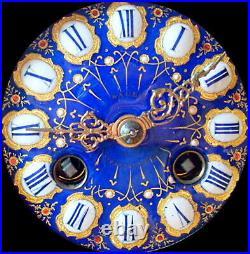 XIXème s Mouvement Pendule Polychrome Sèvres Bleu et Or Fonctionne & Sonne