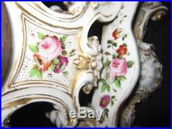 XVIII Belle Pendule Porcelaine De Paris Mvt Coq De Montre