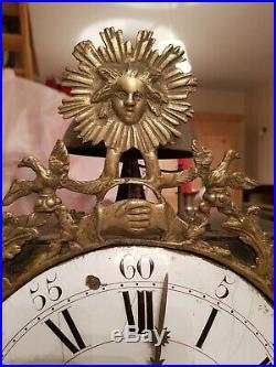 XVIII ème s Mouvement horloge comtoise avec balancier et poids