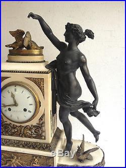 Énorme Pendule en Bronze Horloge BELLEVILLE Paris style Louis XVI + candélabres